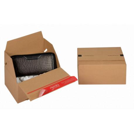 Boite Euroboxes, fermeture autocollante COLOMPAC, bande d'arrachage kraft brun taille S195x145x90