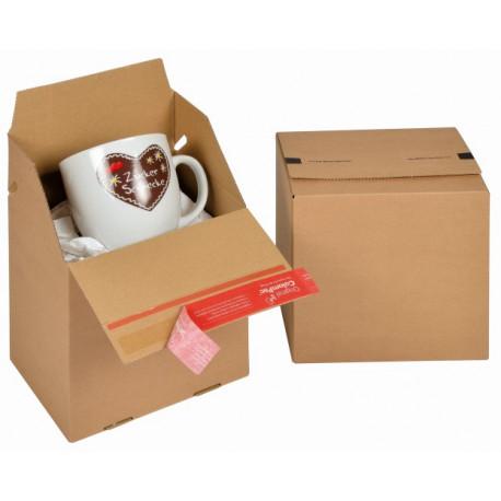 Boite Euroboxes, fermeture autocollante COLOMPAC, bande d'arrachage kraft brun taille S195x145x190