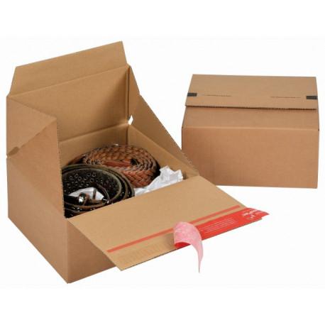 Boite Euroboxes, fermeture autocollante COLOMPAC, bande d'arrachage kraft brun taille S194x194x87
