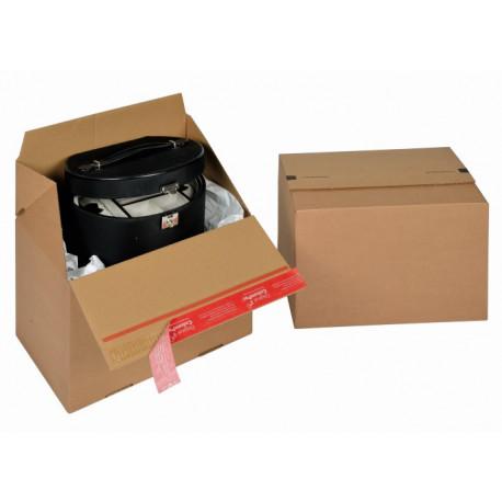 Boite Euroboxes, fermeture autocollante COLOMPAC, bande d'arrachage kraft brun taille M294x194x187