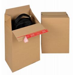Boite Euroboxes, fermeture autocollante COLOMPAC, bande d'arrachage kraft brun taille M294x194x387