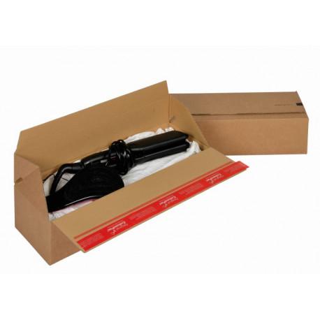 Boite Euroboxes, fermeture autocollante COLOMPAC, bande d'arrachage kraft brun taille L394x144x87