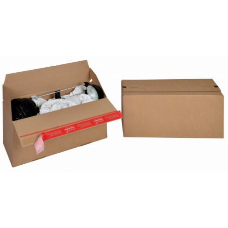 Boite Euroboxes, fermeture autocollante COLOMPAC, bande d'arrachage kraft brun taille L394x144x187