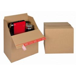 Boite Euroboxes, fermeture autocollante COLOMPAC, bande d'arrachage kraft brun taille L394x294x387