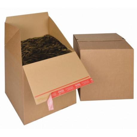 Boite Euroboxes, fermeture autocollante COLOMPAC, bande d'arrachage kraft brun taille L394x394x387