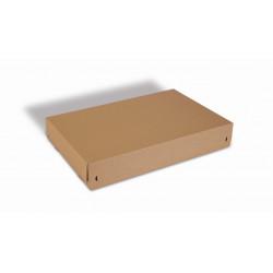 Boite Euroboxes avec couvercle et fermeture autocollante COLOMPAC, bande d'arrachage kraft brun taille XL570x382x94