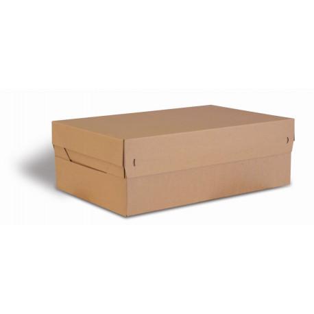 Boite Euroboxes avec couvercle et fermeture autocollante COLOMPAC, bande d'arrachage kraft brun taille XL563x382x191