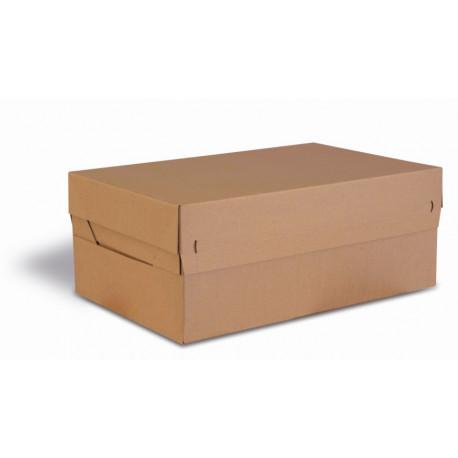 Boite Euroboxes avec couvercle et fermeture autocollante COLOMPAC, bande d'arrachage kraft brun taille XL563x382x282