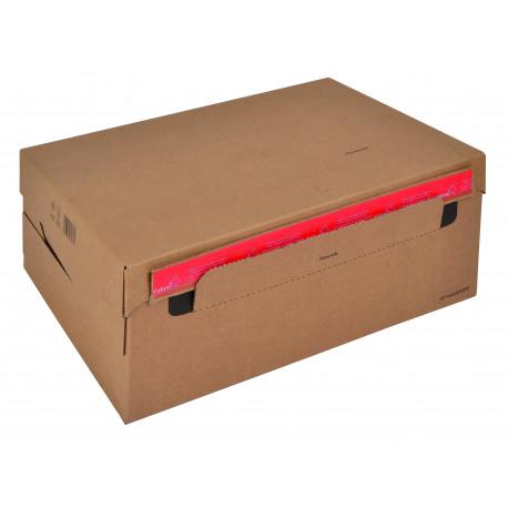 Boite Euroboxes avec couvercle et fermeture autocollante COLOMPAC, bande d'arrachage kraft brun taille XL577x389x97