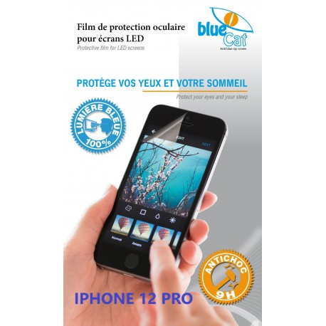 Protection verre trempé anti lumière bleue 100% Bluecat screen Premium pour iPhone XII PRO