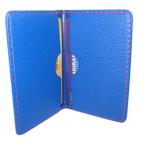 Protège-CB Simili cuir 2 cartes Bleu