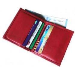 Porte cartes Barrière RFID 6 cartes & poche billets Cuir Rouge