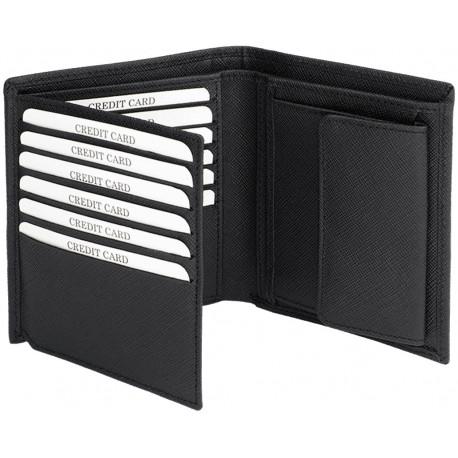 Portefeuille Barrière RFID 12 cartes Cuir Noir