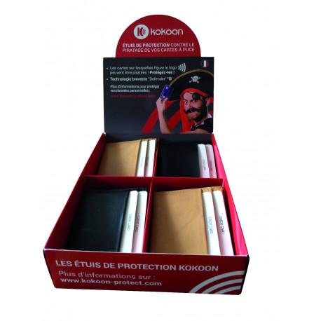 Présentoir de 8 Protège CB Barrière RFID en cuir 4 cartes