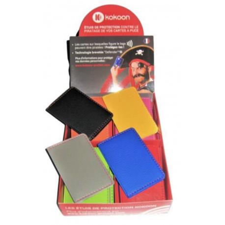 Présentoir de 16 Protège CB Barrière RFID en simili cuir 2 cartes