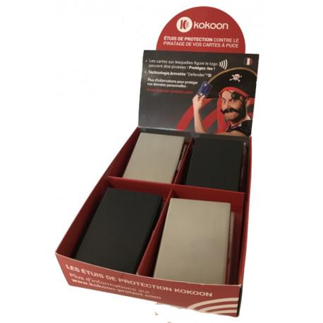 Présentoir de 8 porte-cartes Barrière RFID en métal