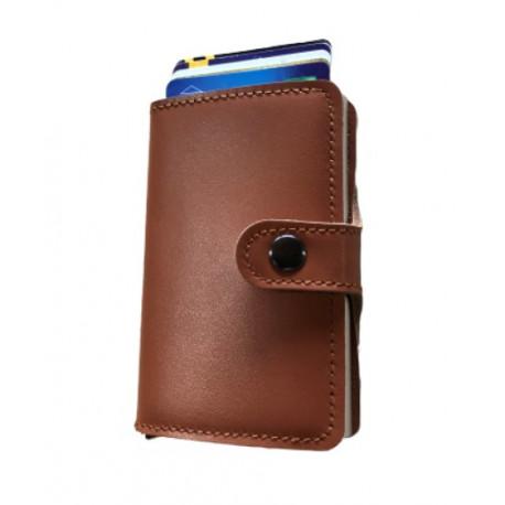 Présentoir de 8 portefeuilles Barrière RFID en cuir & métal