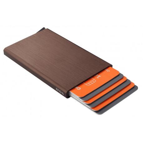 Présentoir de 8 porte-cartes Barrière RFID en aluminium brossé