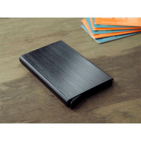 Porte cartes Barrière RFID Aluminium brossé gris foncé