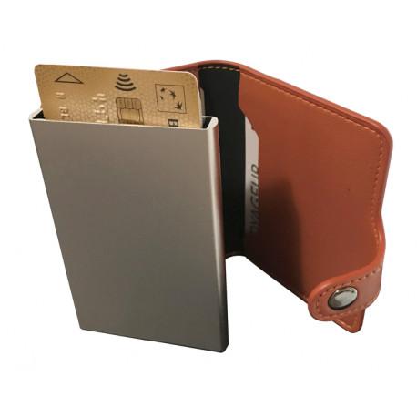 Portefeuille Barrière RFID Metal & Cuir PU Marron