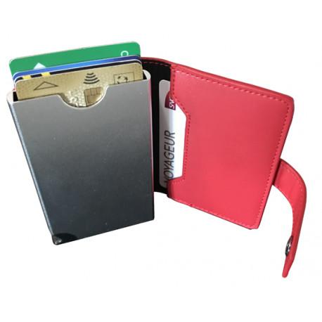 Portefeuille Barrière RFID Metal & Cuir PU Rouge