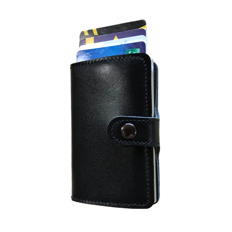 Portefeuille Barrière RFID Metal & Cuir Noir