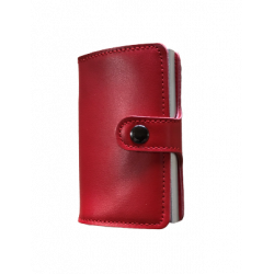 Portefeuille Barrière RFID Metal & Cuir Rouge