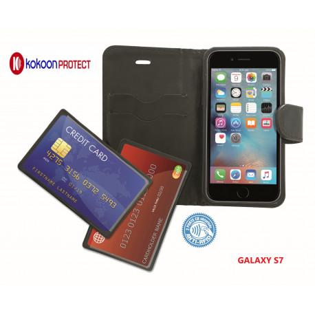 Etui smartphone avec poches CB Barrière RFID pour Samsung Galaxy S7