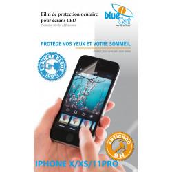 Verre trempé anti lumière bleue 100% pour iPhone X/XS & 11 Pro